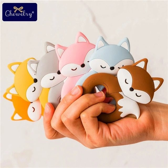 10pc Baby Silicone Teether Rodent Silicone animal Fox Pacifier teeth Pendant BPA Free Silicone Beads Chew Biter Children Goods