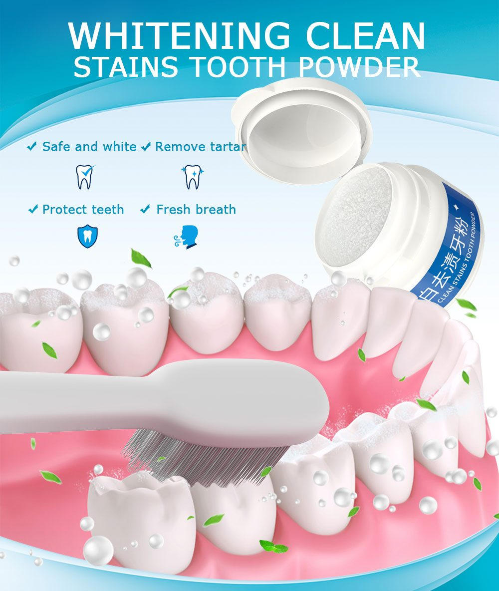 Yoxier Whitening Clean Stains Tooth Powder 30g Protect Bright Teeth Oral Care Teeth Cleaning Fresh Breath Remove Tooth Stains