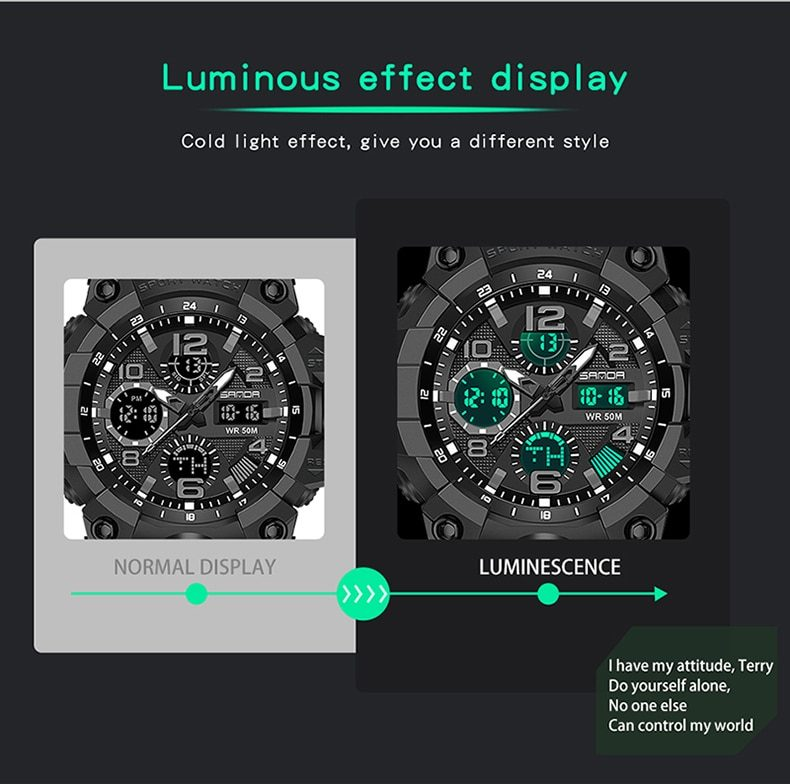 SANDA New G Style S Shock Men Sports Watches Big Dial Sport Watches For Men Luxury LED Digital Military Waterproof Wrist Watches