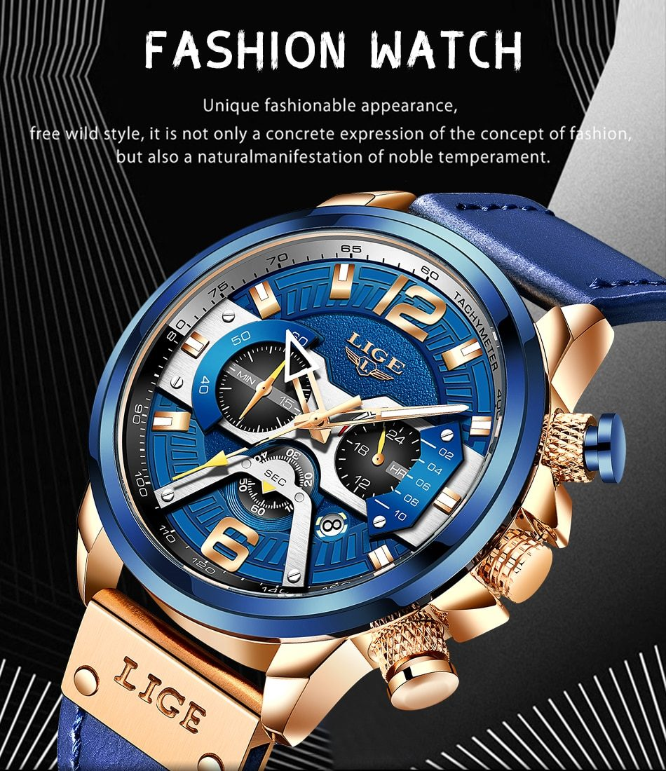 2021 LIGE Casual Sports Watch for Men Top Brand Luxury Military Leather Wrist Watches Mens Clocks Fashion Chronograph Wristwatch