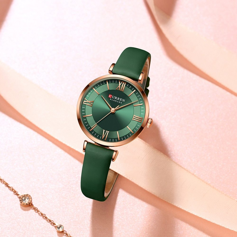CURREN New Watches for Women Simple Quartz Ladies Wristwatches with Leather Strap Elegance Wrist Charm Timeless