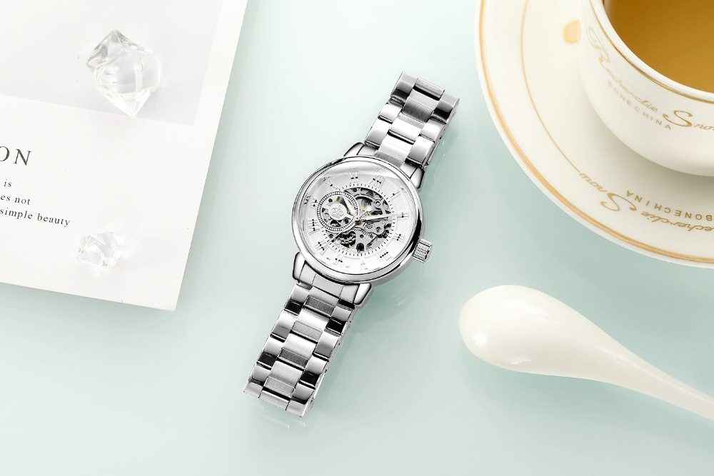New Fashion Luxury Brand Skeleton Women Mechanical Watch Female Clock Automatic Mechanical Watches For Women Silver Montre Femme