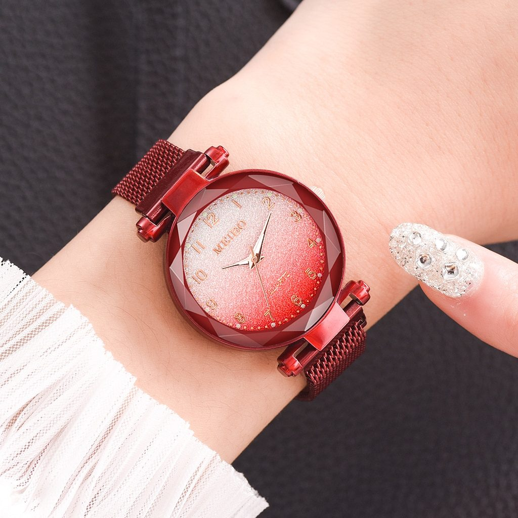 Hot Sale Women Magnet Buckle Gradient Color Watches Luxury Ladies Fashion Female Wristwatches For Gift Clock