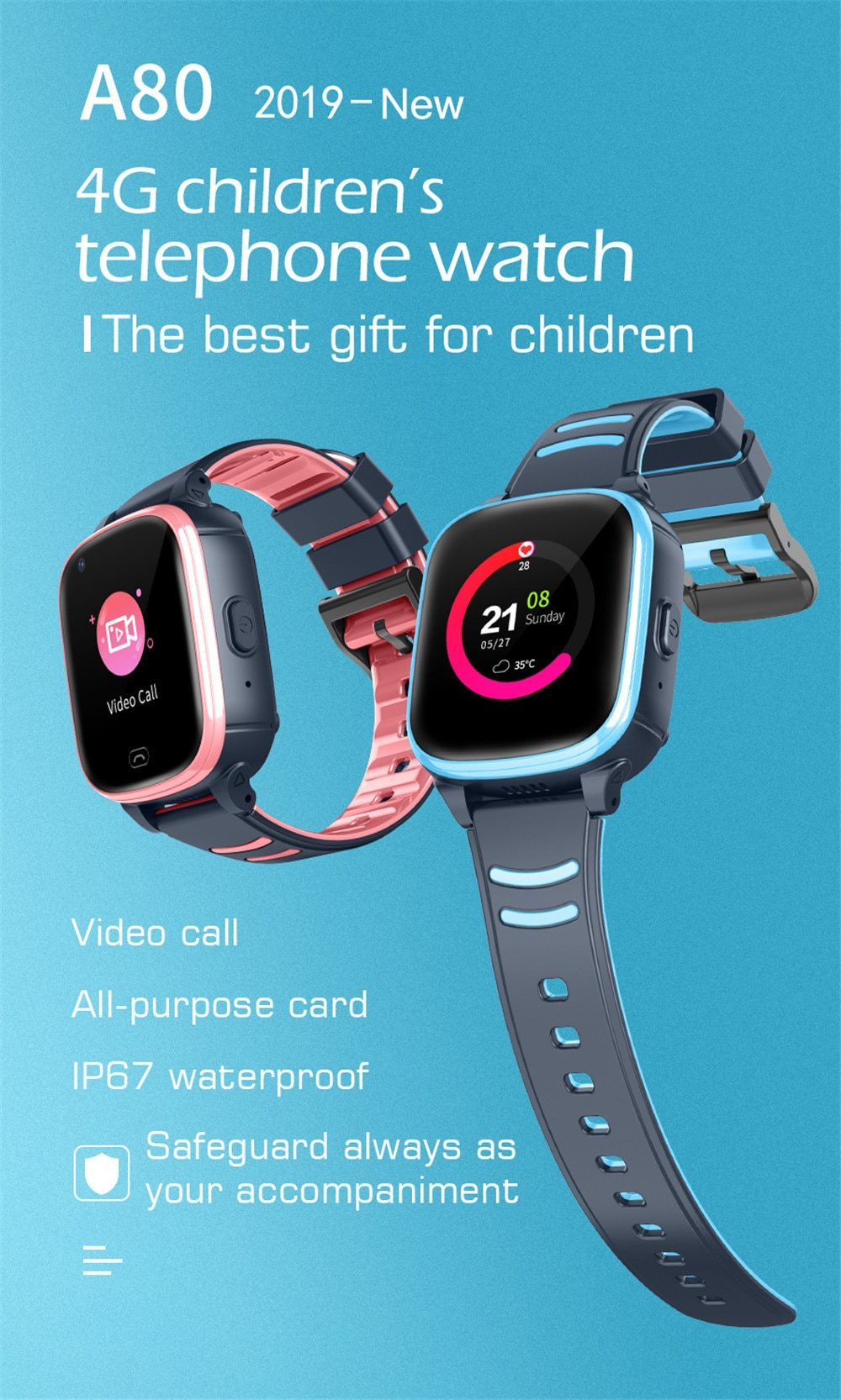 4G Students GPS Watch Tracker Smart Watchband Locator Waterproof Kids Tracking Device Support Two-Way Video Communication SOS