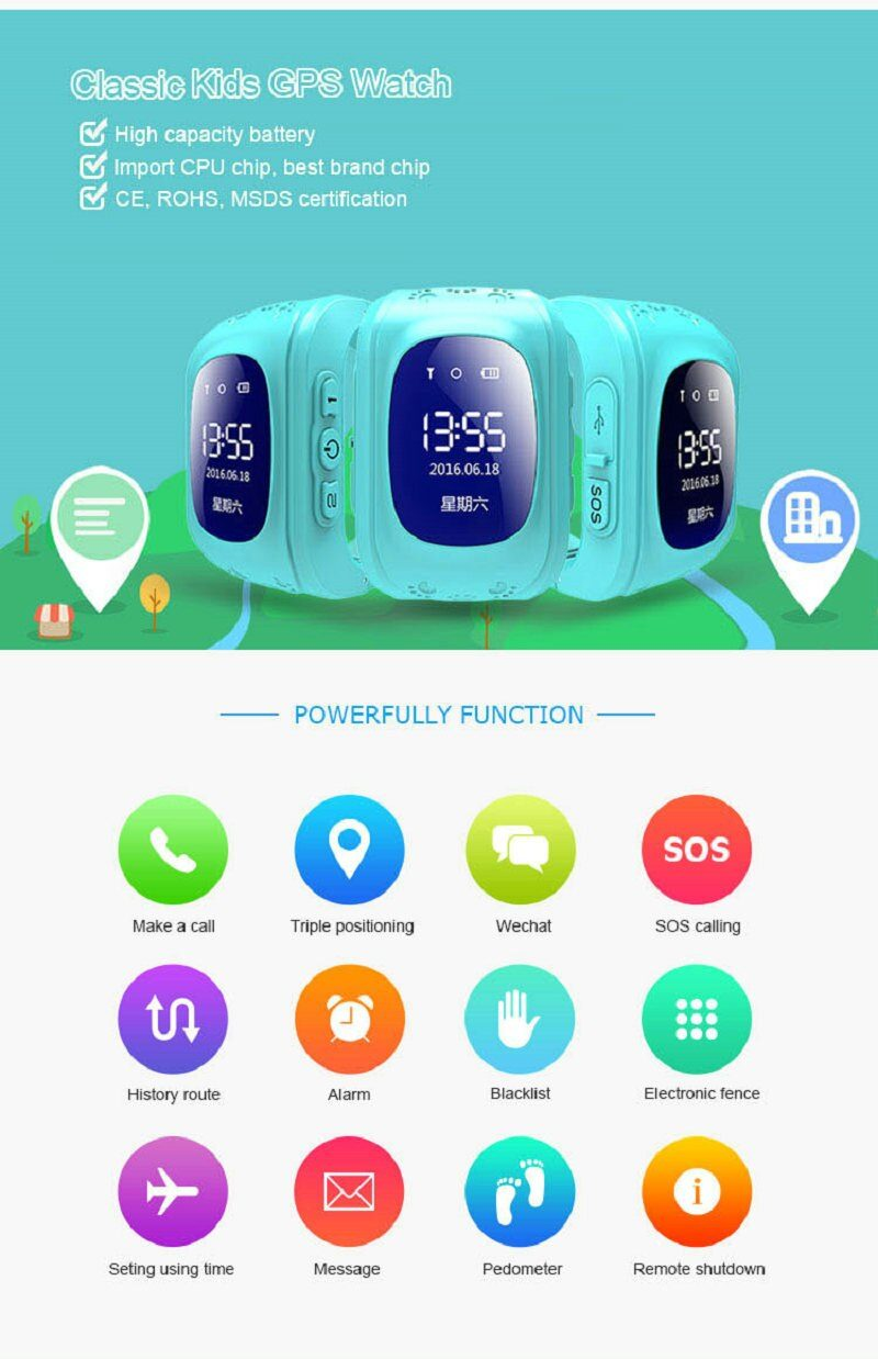 Anti Lost  Kids Smart Watch OLED Child GPS Tracker SOS Monitor Positioning Phone GPS Baby Watch IOS watch