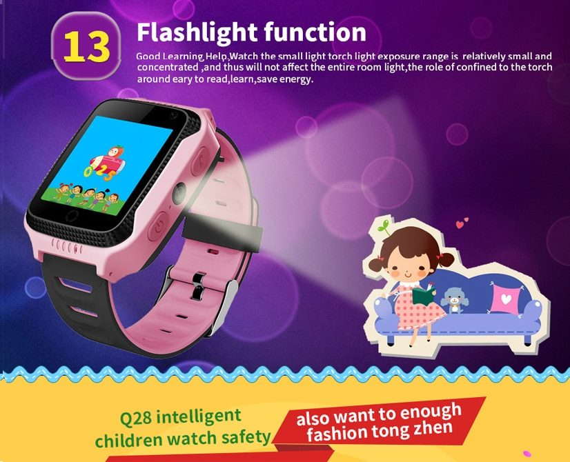 Kids Tracker Watch Q528 Y21 Flashlight Camera Touch Screen SOS Call GPS Location Tracking Baby Wristwatches Clock Q529