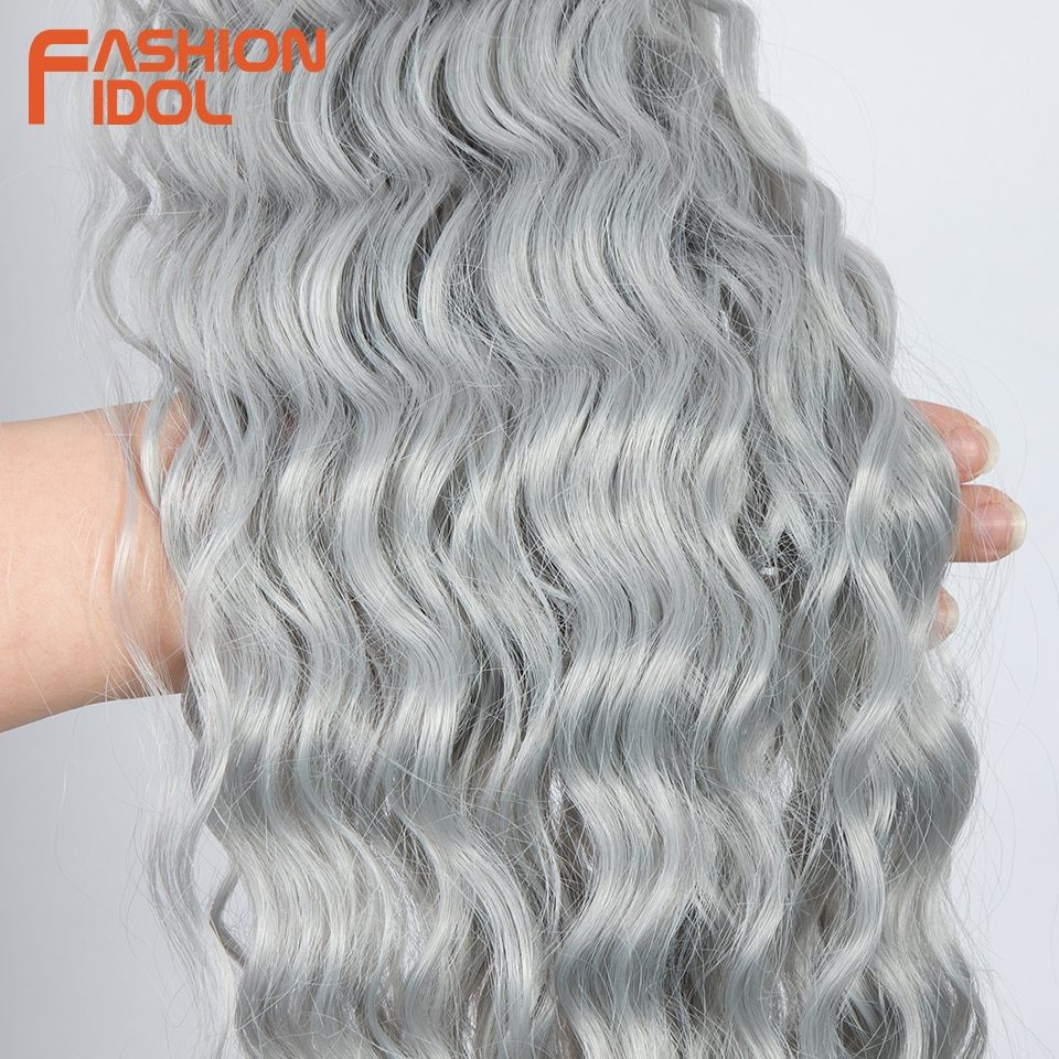 FASHION IDOL Loose Deep Wave Hair Bundles Extensions Ombre Hair Bundles 28-32Inch 120g Super Long Hair Synthetic Curly Wave Hair