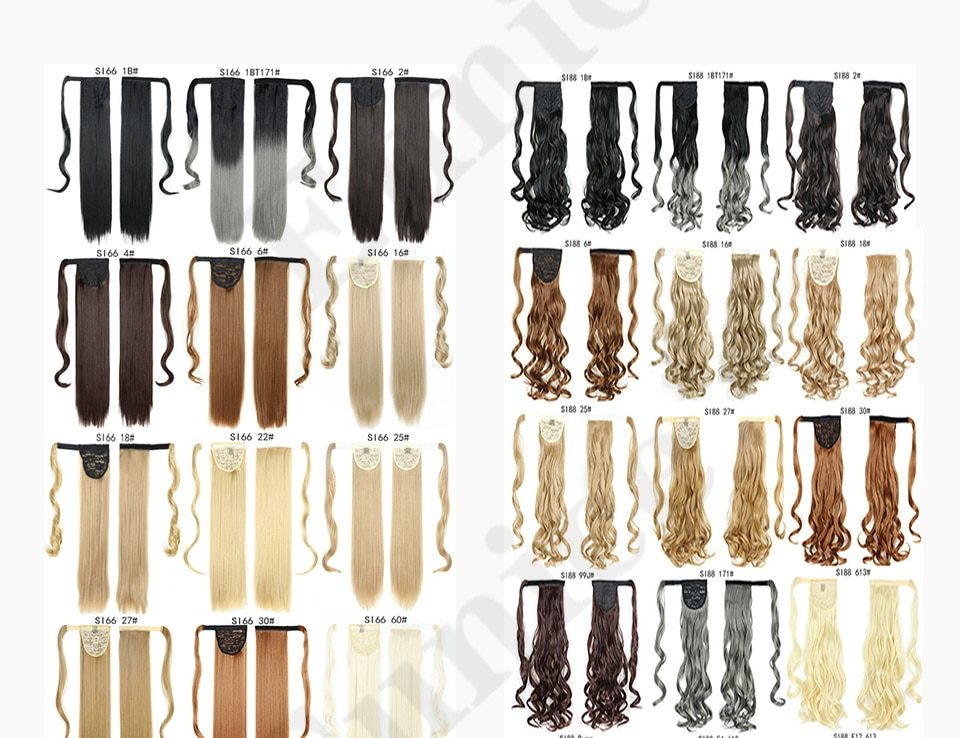 Long Straight Ponytail Wrap Around Ponytail Clip in Hair Extensions Natural Hairpiece Headwear Synthetic Hair Brown Gray 613