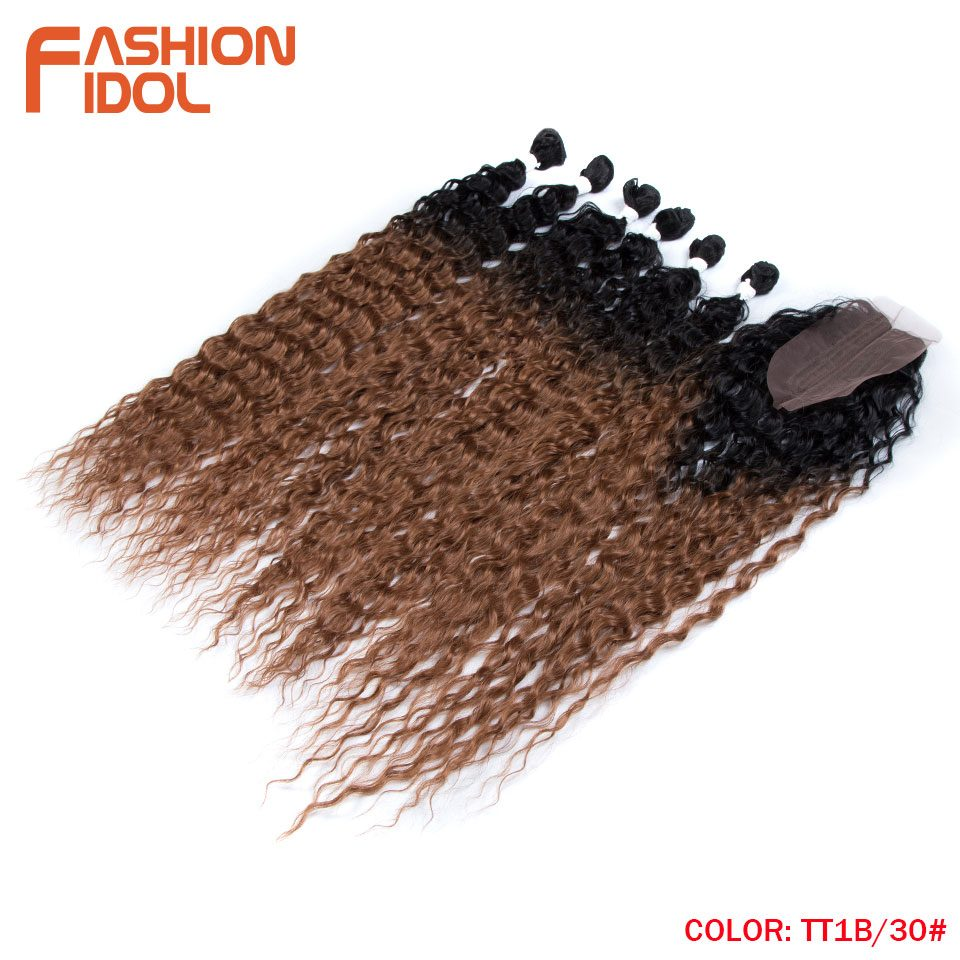FASHION IDOL Afro Kinky Curly Hair Bundles Extensions With Closure Ombre Golden 30inch Soft Super Long Hair Synthetic Wave Hair
