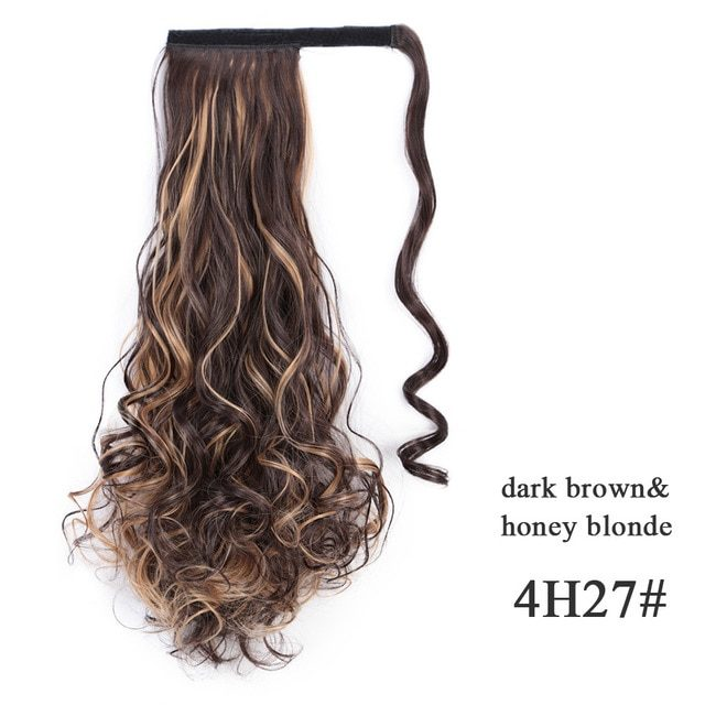 LISI HAIR Long Wavy Wrap Around Clip In Ponytail Hair Extension Heat Resistant Synthetic Natural Wave Pony Tail Fake Hair
