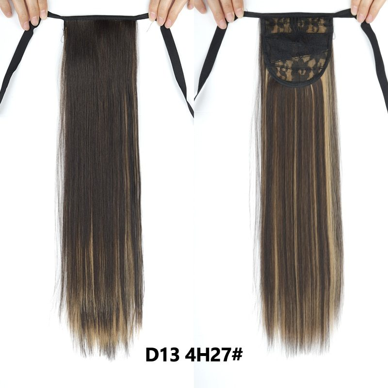 Long Straight Clip In Tail False Hair Ponytail Hairpiece With Hairpins Synthetic Pony Tail Extensions Black Brown Headwear
