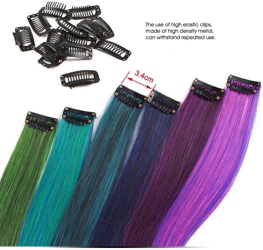 Alileader Clip On Hair Extension 57Color Ombre Straight Hair Extension Clip In Hairpieces High Temperature Faber Hair Pieces
