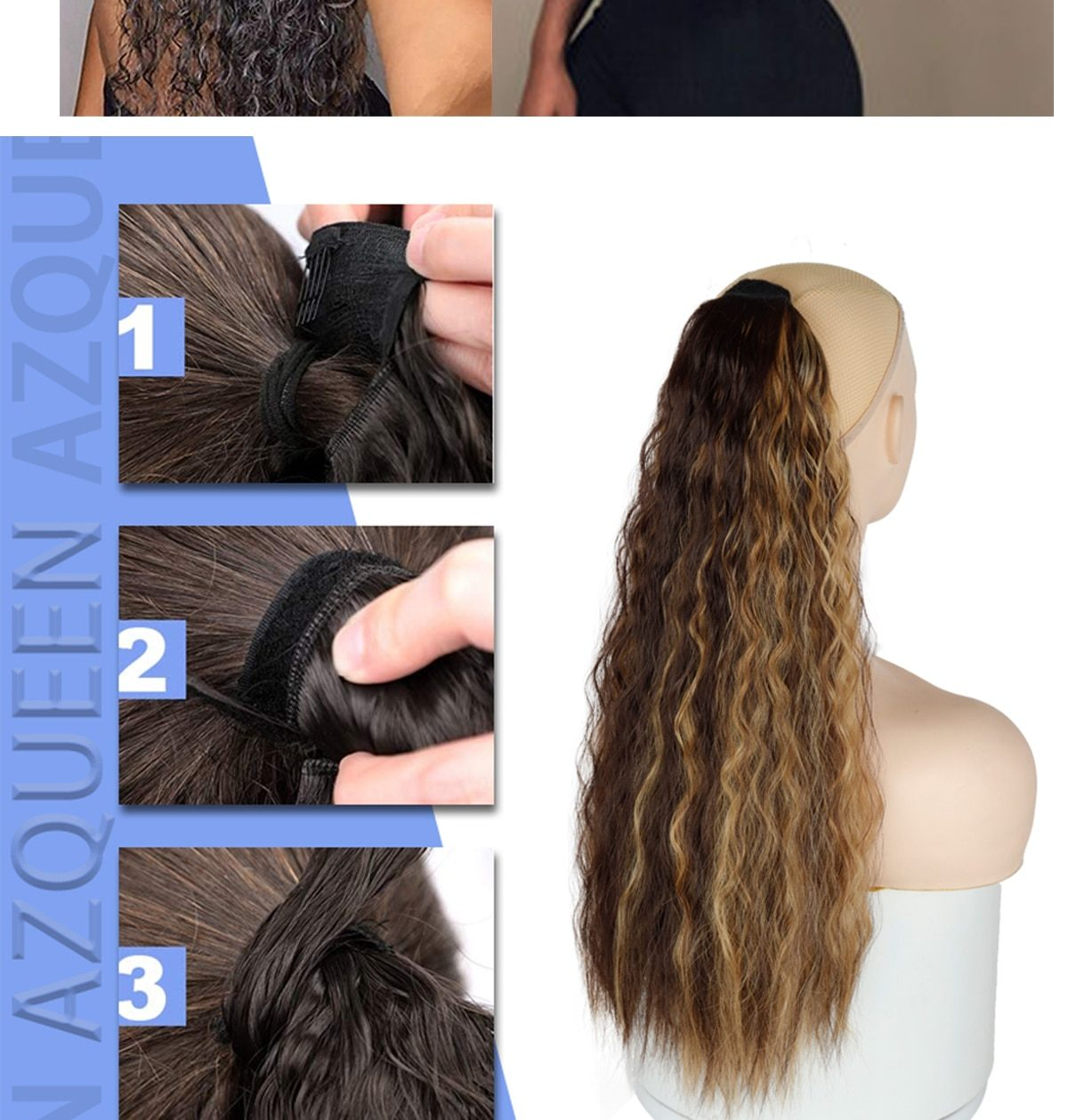 AZQUEEN Synthetic Corn Wavy Long Ponytail  Hairpiece Wrap on Clip Hair Extensions Ombre Brown Pony Tail Blonde Fack Hair