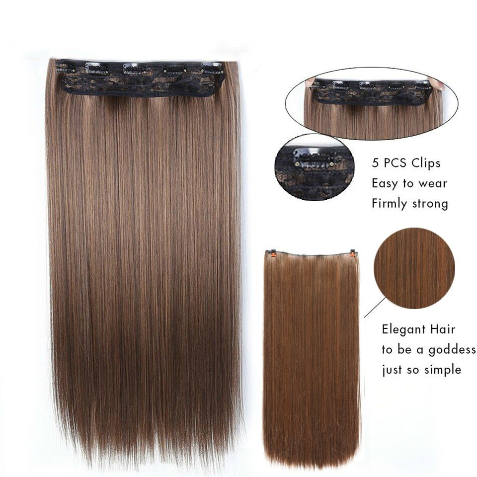 MANWEI Long Straight Clip in one Piece Synthetic Hair Extension 5 Clips False Blonde Hair Brown Black Hair Pieces for Women