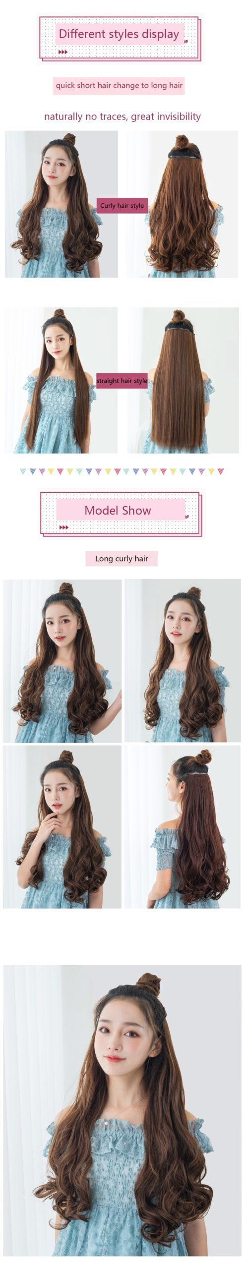 SHANGKE Straight Synthetic 24-Inch Clip in Hair Extensions Heat Resistant Wavy Hairpiece High Temperature Fiber False Hair