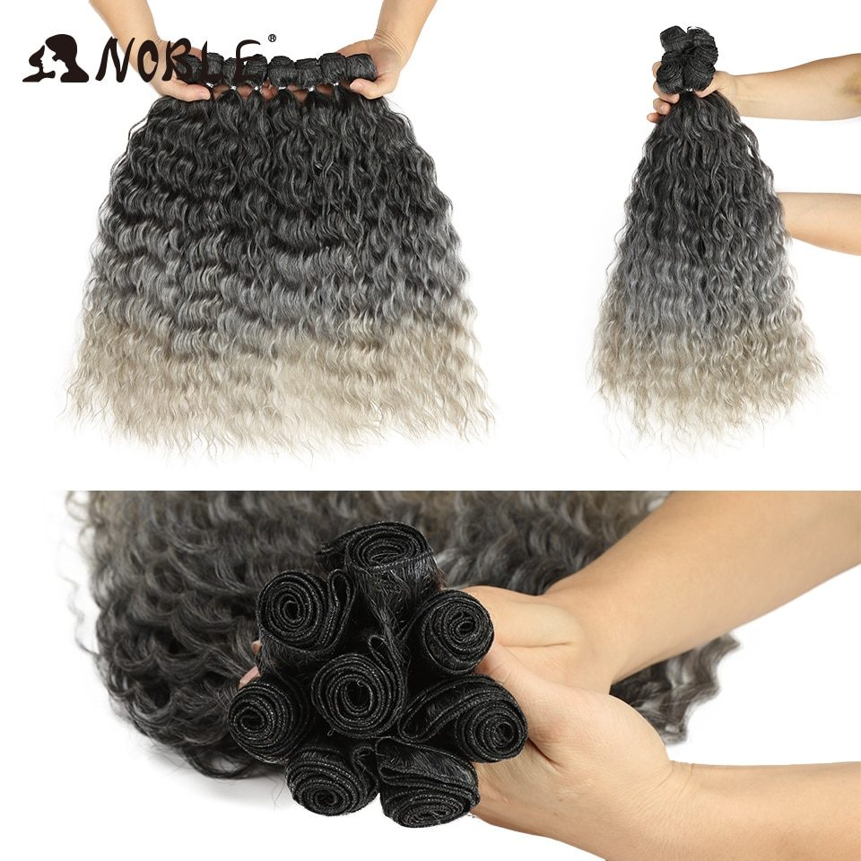 Noble Synthetic Hair Body Weave 20 Inch 8pcs/lot Afro Kinky Curly Hair Ombre Bundles Hair Extension Synthetic Hair Wave