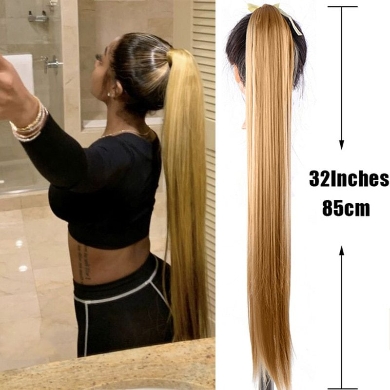 JINKAILI  Long Straight Synthetic Fake Hair Clip in Ponytail Hair Extensions  Hairpiece Heat-Resistant Wavy Pony Tail Wig