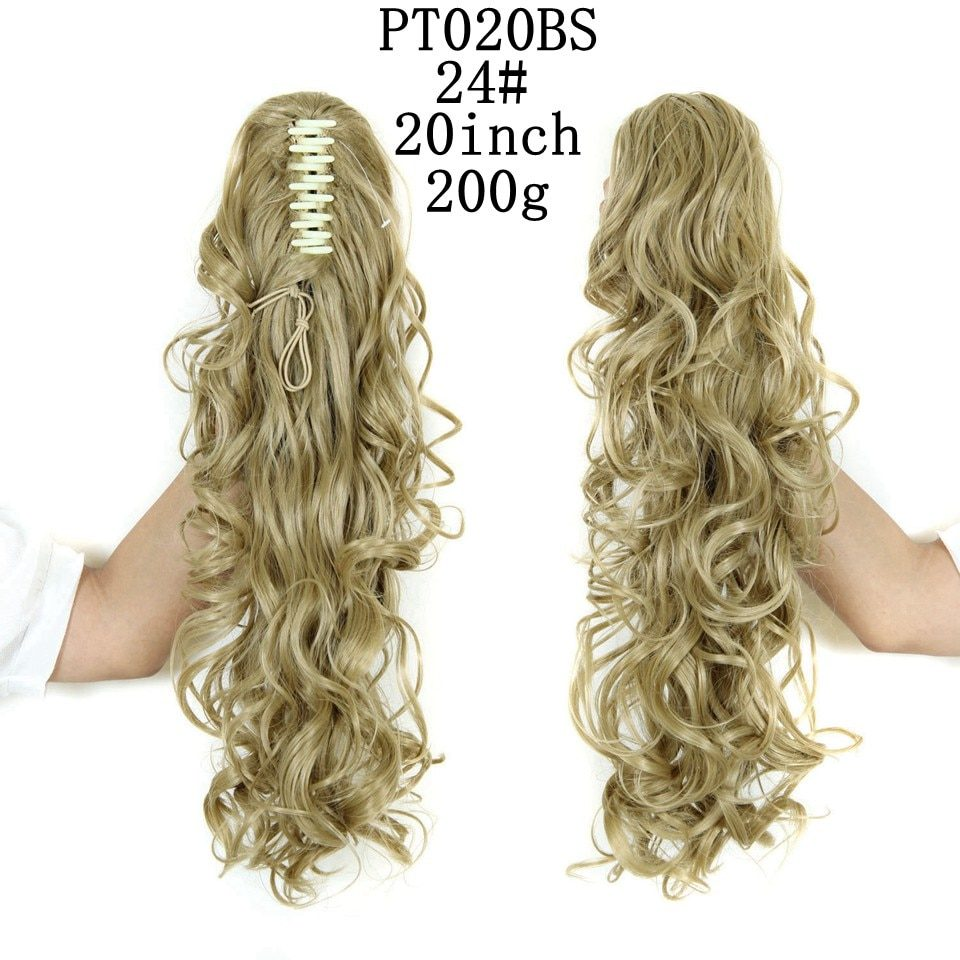 LISI GIRL Synthetic Women Claw on Ponytail Clip in Hair Extensions Wavy Curly Style Pony Tail Hairpiece Brown Blonde Hairstyle