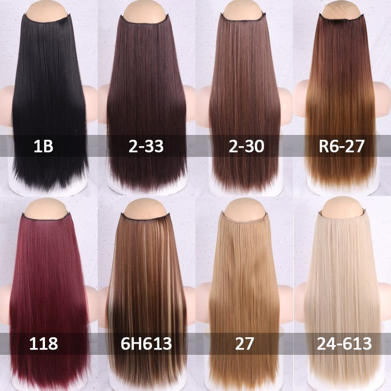 WERD Long Straight Clip in one Piece Synthetic Hair Extension 5 Clips False Blonde Hair Brown Black Hair Pieces for Women