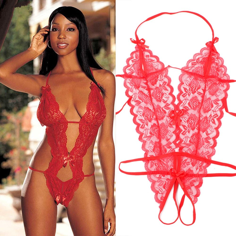 Hot Women Sexy Lace Lingerie Siamese Perspective Three-Point Underwear G-string Babydoll Sleepwear Erotic Lingerie Transparent