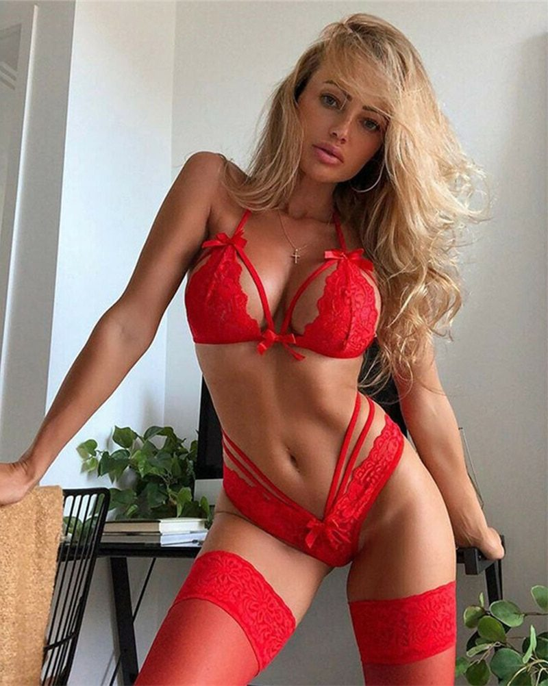 3Pcs Women Sexy Lingerie Sets Quality Polyester Transparent Red Bowknot Bra Set Lace Babydoll Breathable Open Sexy Underwear Set