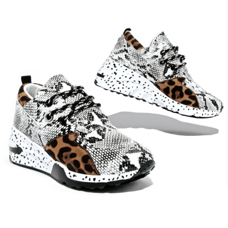 Spring Lace-Up Platform Sports Shoes for Women Breathable Ladies Sneakers Leopard Print Faux Fur Sneakers Women's Casual Shoes