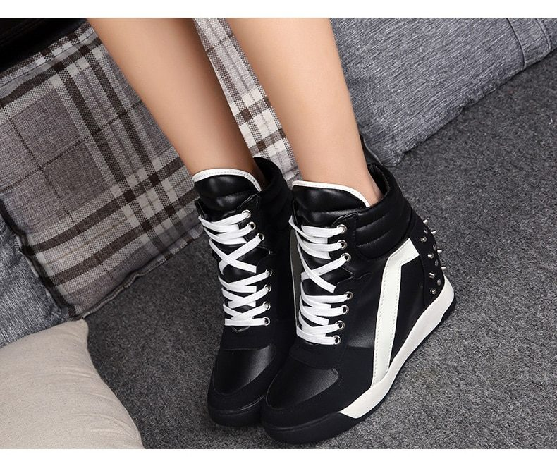 Hot Sales Rivets Black White Hidden Wedge Heels Casual Shoes tenis feminino High Top Shoes Trainers Women Zapatos Mujer 2021