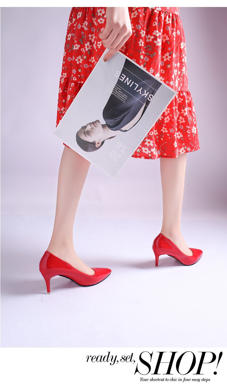 2020 HOT Women Shoes Pointed Toe Pumps Patent Leather Dress High Heels Boat Shoes Wedding Shoes Zapatos Mujer