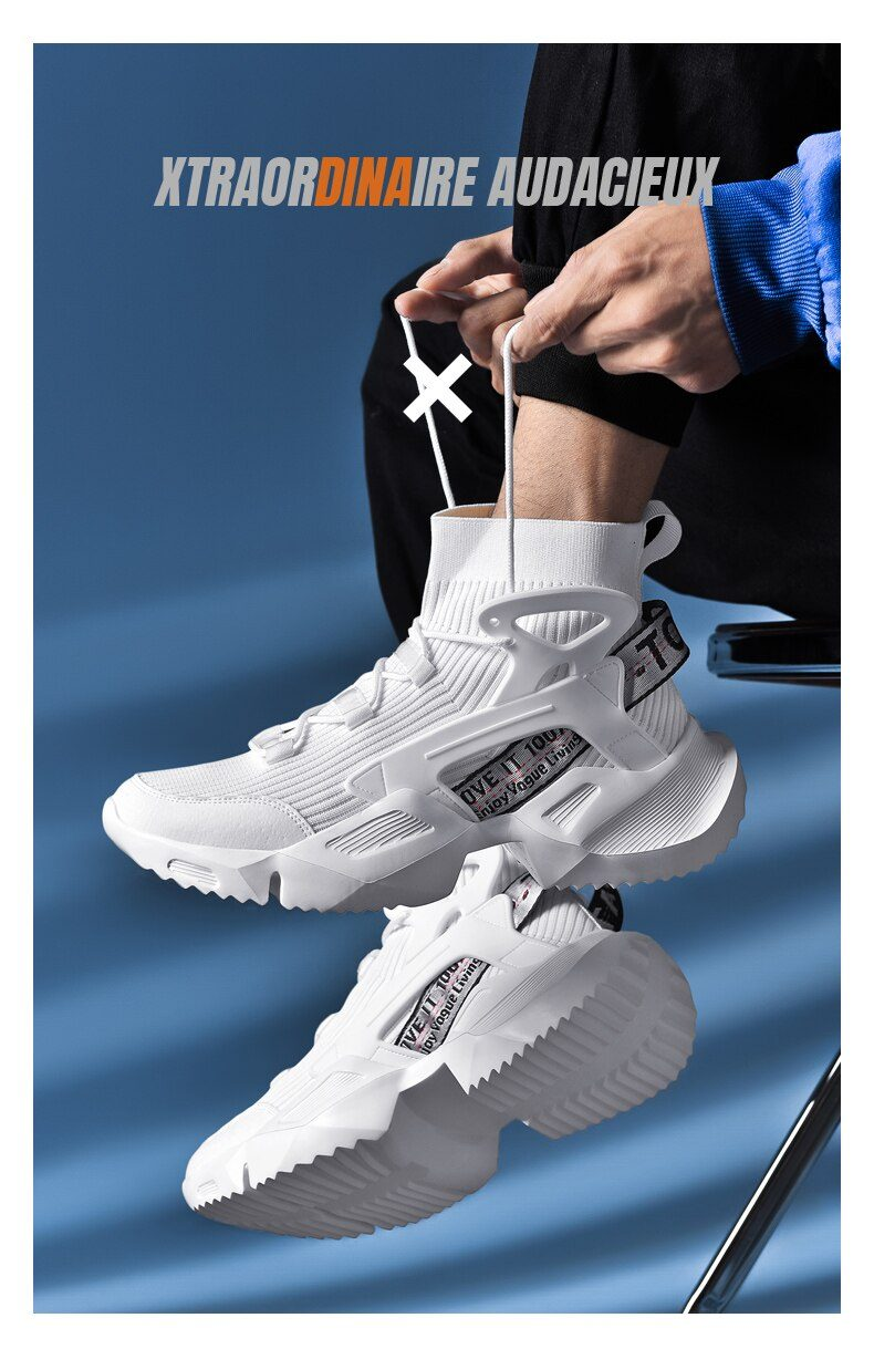Man Sneakers Breathable Zapatillas Hombres Fashion Men's Height Increasing Casual Daddy Shoes Damping Outdoor Jogging Shoes