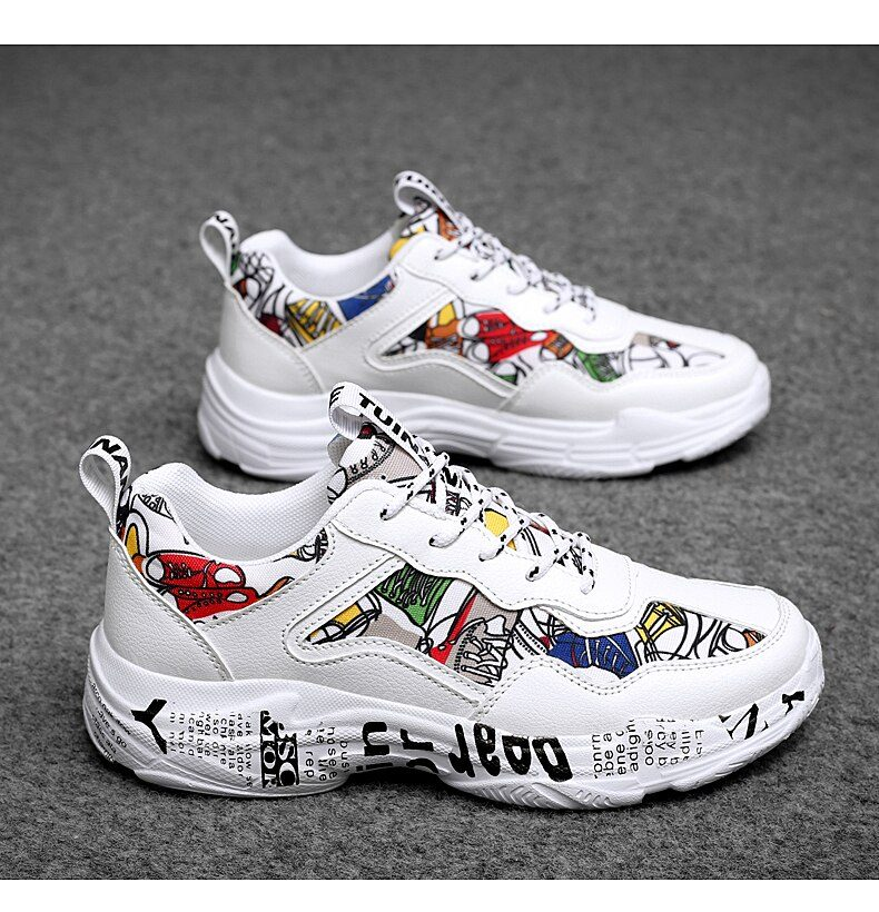 TUINANLE Sneakers Women Spring Woman Casual Fashion Shoes Size 35-43 Graffiti Ladies Vulcanized Shoes White Sneakers Lover Shoes