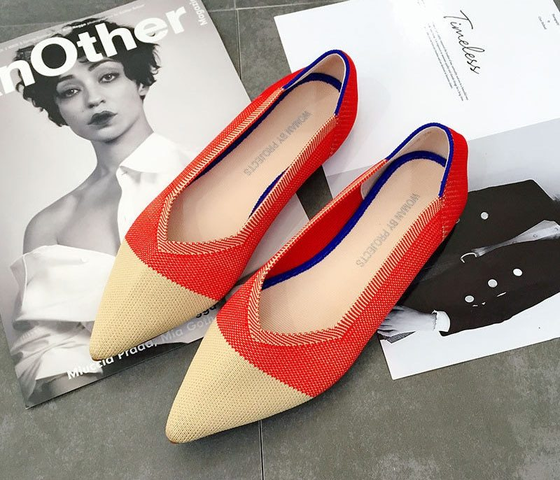 Pointed Toe Ballet Flats Women 30 Colors Slip on Ladies Flats Shoes Wool Knitted Pregnant Women Loafers Shoes Moccasins