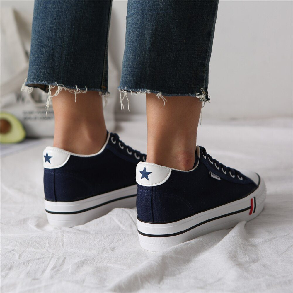 Women Hidden Heel Platform Wedge Canvas Shoes Outdoor Breathable Trainers Female Sneakers Woman Casual Shoes