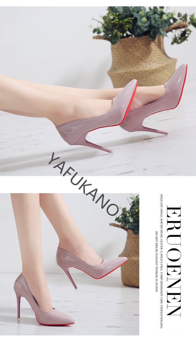 Fashion Red Sole Pumps Stiletto Sexy Pointed Toe Patent Leather Female Work Shoe White Wedding Party High Heels Sexy Woman Shoes