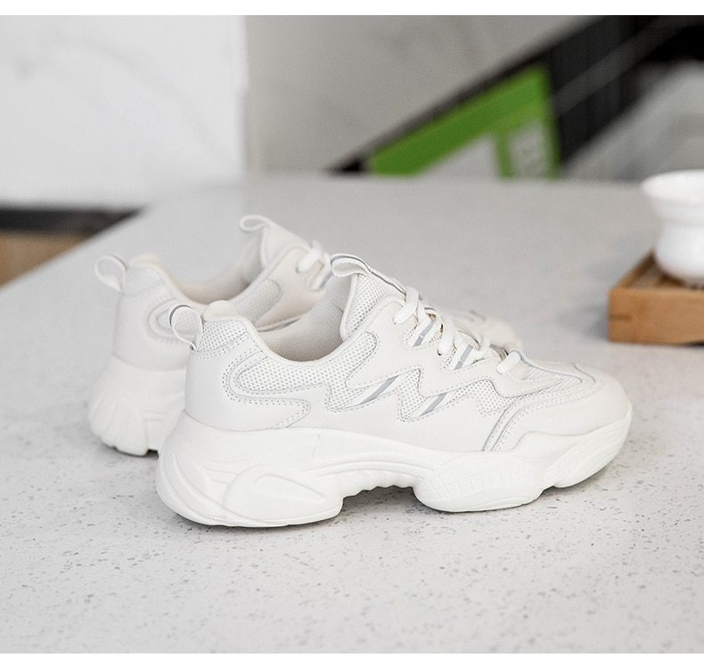 Casual Mesh Platform Sports Shoes Leather Breathable Woman Sneakers 2020 Spring Women's Shoes Lace Up Zapatos De Mujer Beige