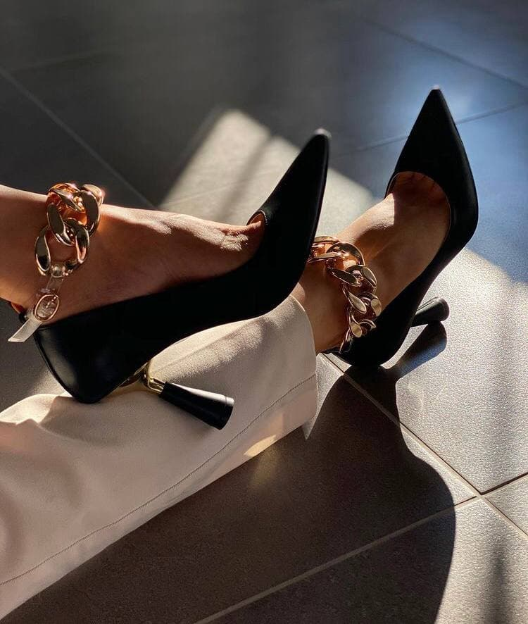 Womens High Heels Chain Gold Black Beige Shoes Sexy Comfortable Leather Pumps Stiletto Daily Casual Bussiness Sexy Platform 2020 2021 lolita louboutin Italian Pompy Sneakers klapki na obcasie Medium