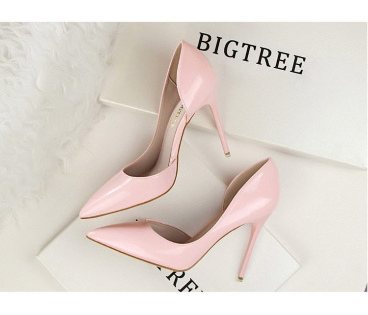 BIGTREE Shoes Patent Leather Heels 2020 Fashion Woman Pumps Stiletto Women Shoes Sexy Party Shoes Women High Heels 12 Colour