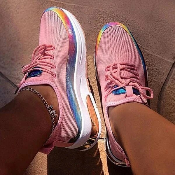 Women's Chunky Sneakers 2020 Fashion Women Platform Lace Up Pink White Vulcanize Shoes Womens Female Trainers Girls Shoes