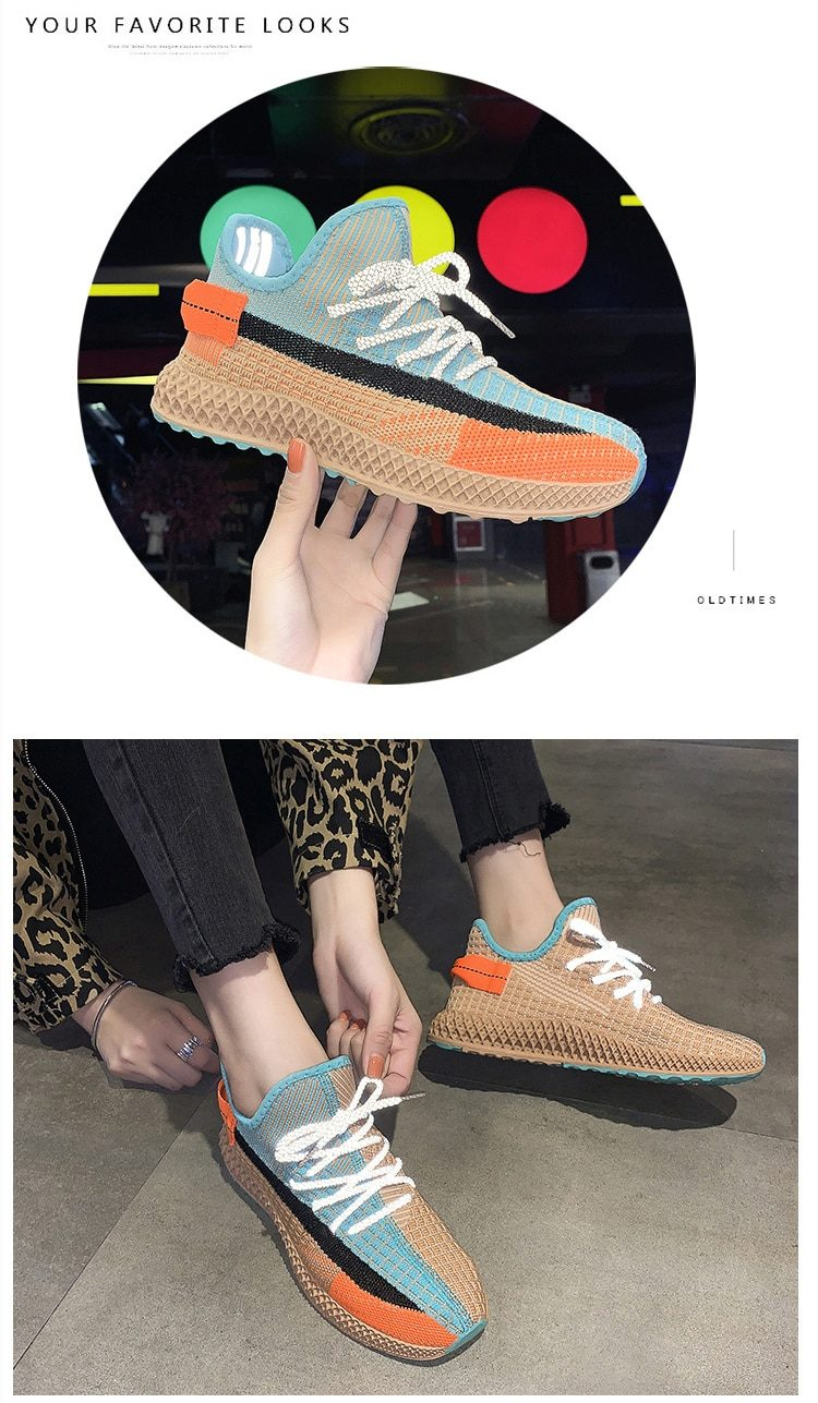 New ladies casual shoes fashion running shoes lightweight breathable wear-resistant reflective women's shoes trend walking shoes