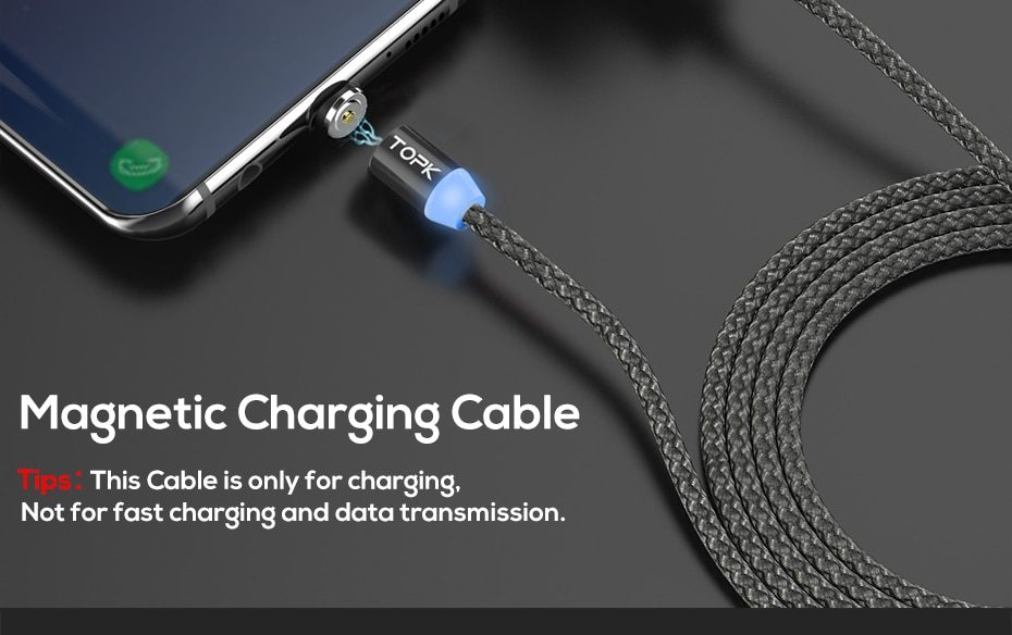 TOPK AM17 LED Magnetic USB Cable / Micro USB / Type-C For iPhone X Xs Max Magnet Charger for Samsung Xiaomi Pocophone USB C