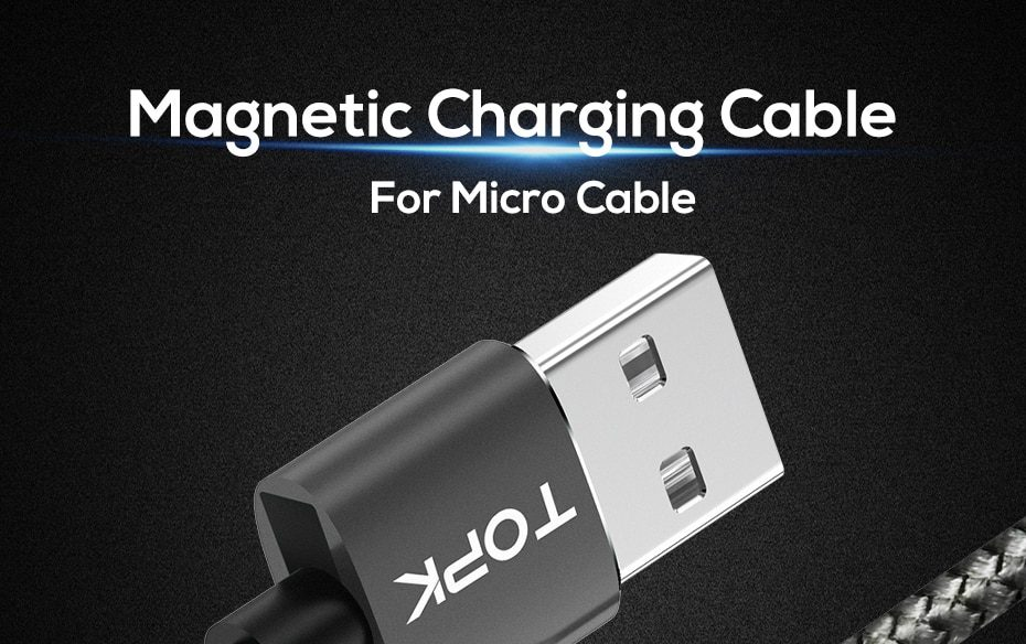 TOPK AM17 2M LED Magnetic USB Cable for iPhone Xs Max Micro USB Type C Cable Samsung Braided Phone Cable Magnet Charging Wire