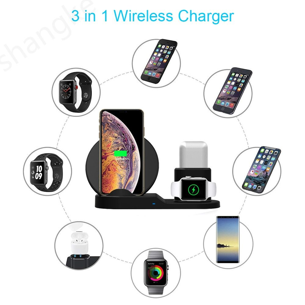 3 in 1 Fast Wireless Charger Dock Station Fast Charging For iPhone 12 12 Pro SE 11 XR XS for Apple Watch 2 3 4 5 For AirPods Pro