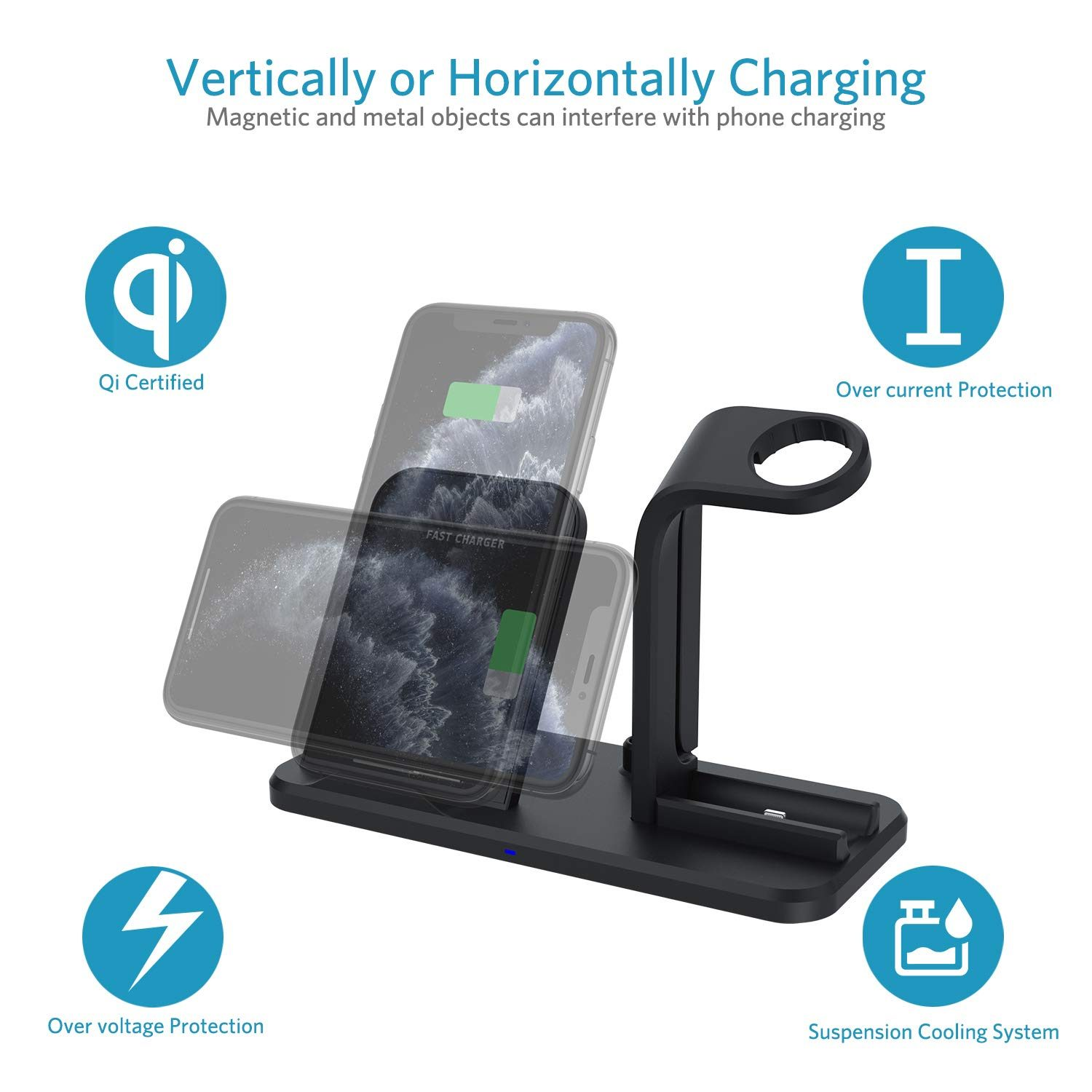 3 in 1 Wireless Charging Stand Dock Station for Apple Watch Series 6 5 4 3 iPhone 12 11 Pro Max XS XR X AirPods Pro Fast charger