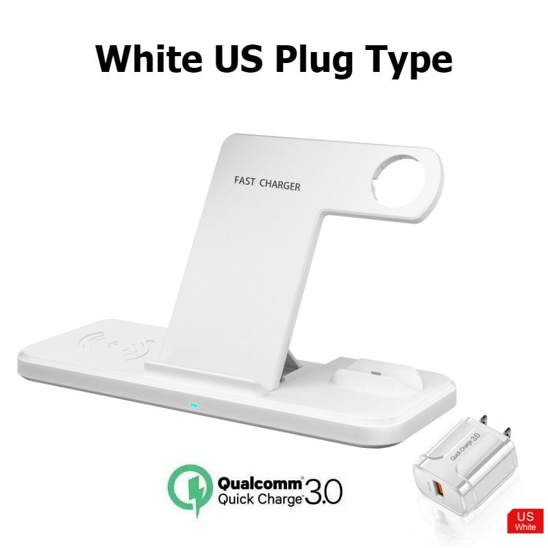 Qi Wireless Charger 15W 4 in 1 Fast Charging Dock Station Pad Stand for Apple Watch 6 SE 5 4 3 iPhone 12 11 XS XR X Airpods Pro