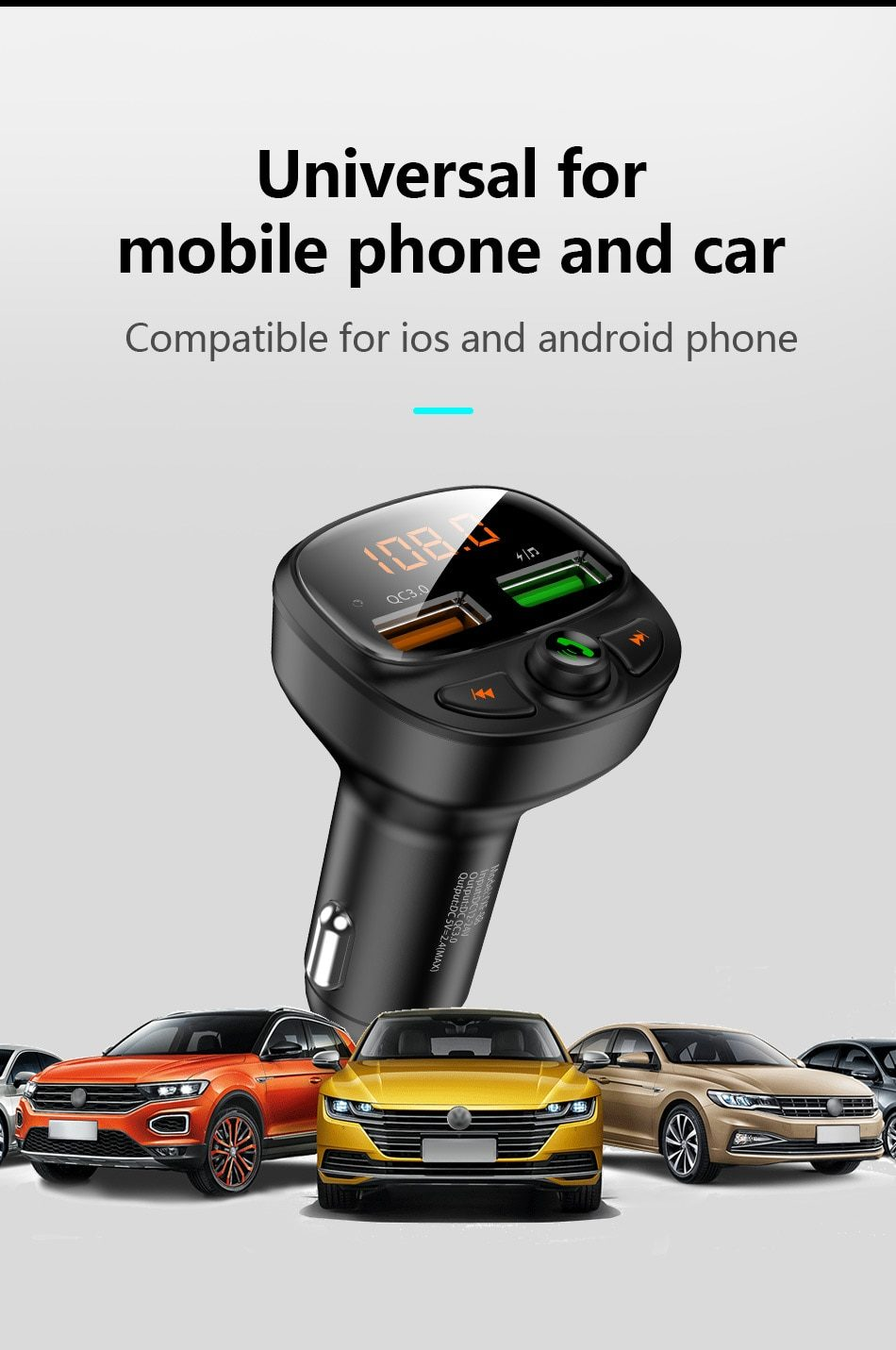 FLOVEME USB Car Charger Quick Charge 3.0 Fast Charging Bluetooth Wireless FM Transmitter MP3 Player TF Card Music Car Kit