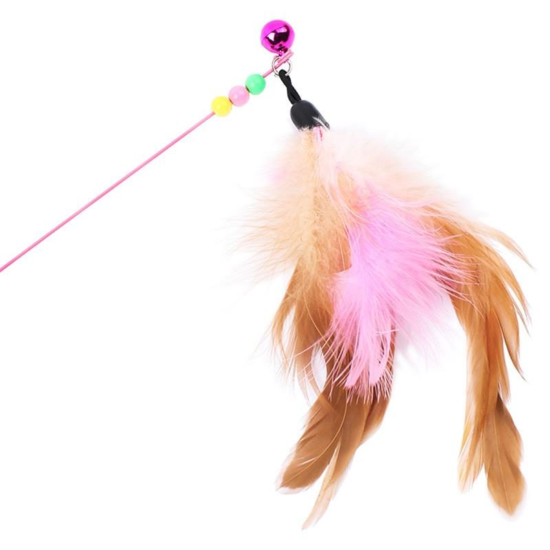 1pc Cat Toy Stick Feather Wand With Bell Mouse Cage Toys Plastic Artificial Colorful Cat Teaser Toy Pet Supplies Random Color