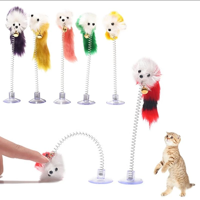 Cat Toy Stick Feather Wand With Bell Mouse Cage Toys Plastic Artificial Colorful Cat Teaser Toy Pet Supplies Random Color