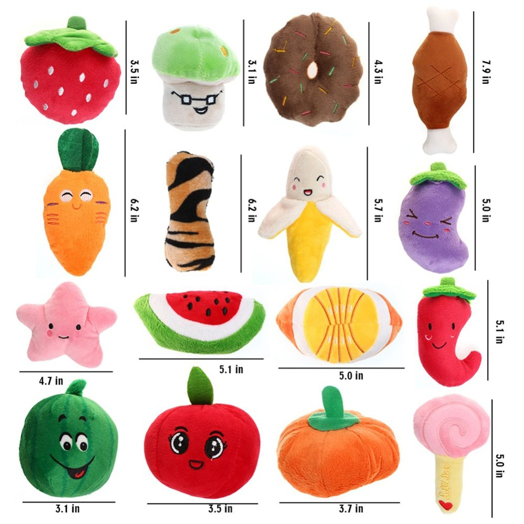 Cat Dog Plush Toys Cartoon Cute Fruit Food Shape Bite Resistant Squeaky Toy Pet Chew Toy Pet Interactive Supplies Dropshipping