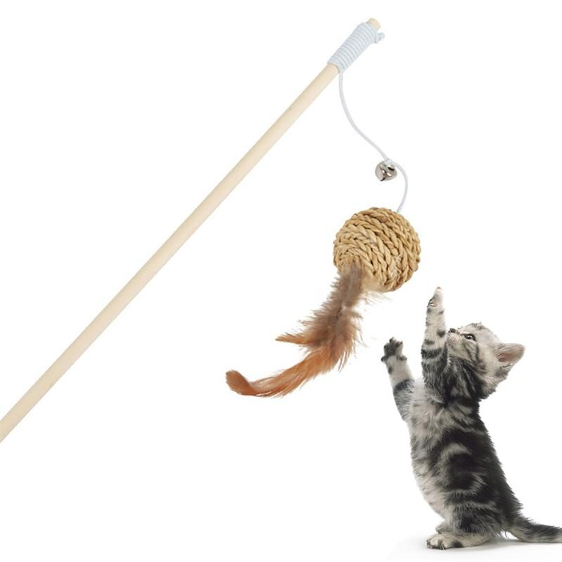 Legendog 1pc Cat Teaser Toy Wooden Rod Ball Fake Feather Ball Decor Interactive Toy For Cat Pet Supplies Random Style