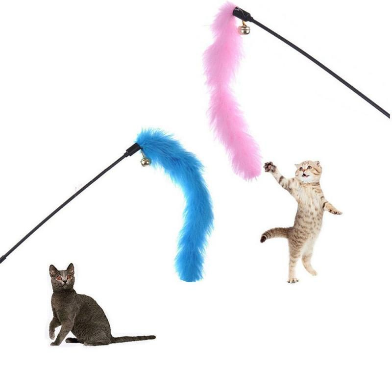 Random Color Funny Cat Stick Toys Colorful Turkey Feathers Tease Cat Stick Interactive Pet Toys For Cat Playing Toy Pet Supplies