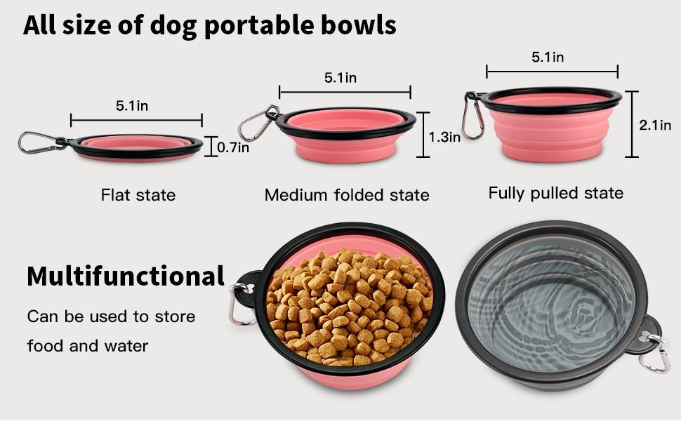 Furrybaby 350ML/1000ML 1PC Collapsible Dog Bowls for Travel Dog Portable Water Bowl for Dogs Dish for Traveling Camping Walking
